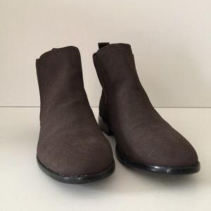 Just Fab Brown Faux Suede Chelsea Booties